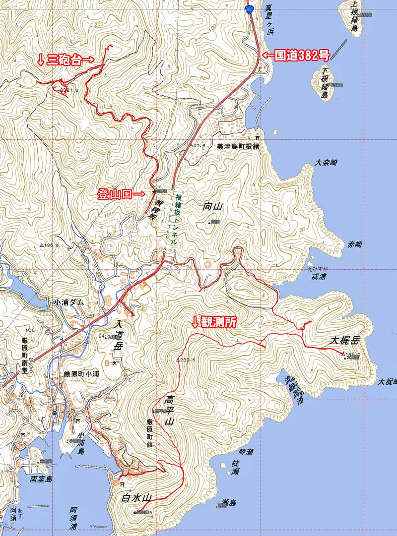 根緒三砲台・地図