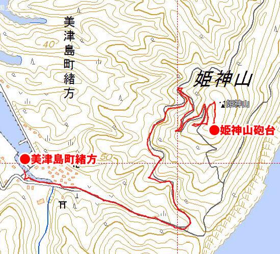 姫神山砲台地図